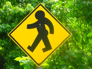 Pedestrian crossing sign. Baby's got back!