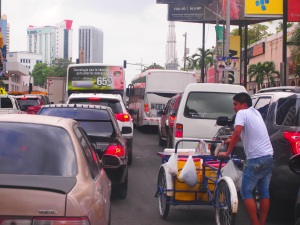 Panama City downtown constant traffic