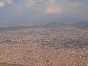 Aerial view of the small town: Mexico City